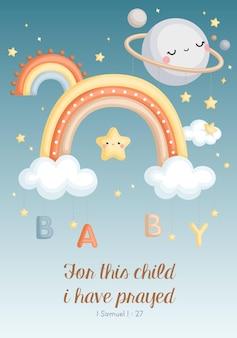 Un vecteur mignon de bébé garçon avec carte de citation de ciel arc-en-ciel