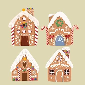 Vecteur mignon collection de maison en pain d'épice, biscuit traditionnel de noël doux dans un style dessiné à la main.