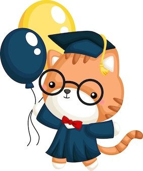 Vecteur mignon d'une mascotte de chat diplômé