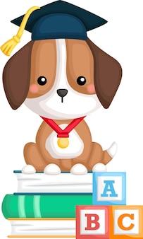 Vecteur mignon d'une mascotte de chien diplômé