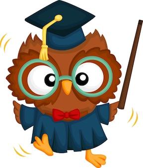 Vecteur mignon d'une mascotte de hibou diplômé