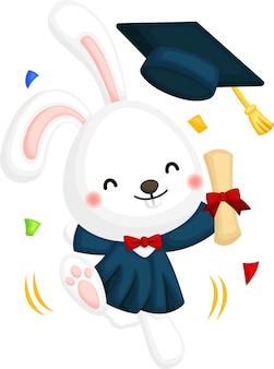 Vecteur mignon d'une mascotte de lapin diplômé