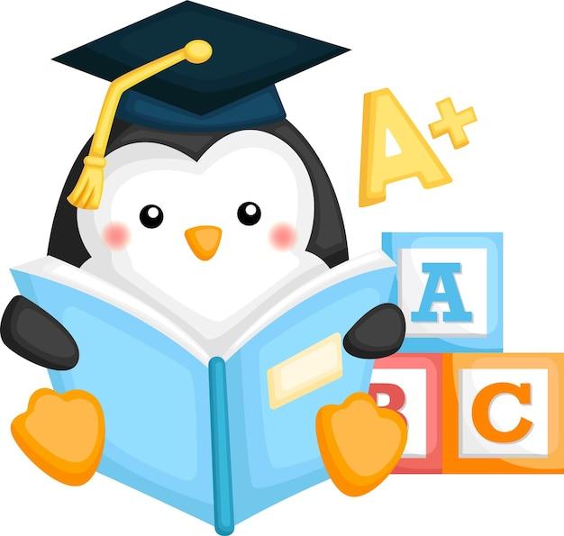 Vecteur mignon d'une mascotte de pingouin diplômé