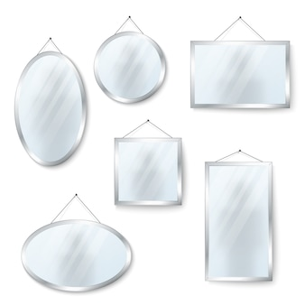 Vecteur des miroirs suspendus isolés sur blanc