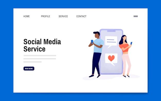 Vecteur de mise en page de la page de destination du service de médias sociaux
