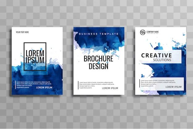 Vecteur de modèle abstrait aquarelle buisness brochure