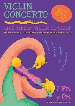 Vecteur de modèle d'affiche de concert coloré avec graphique plat musicien violoniste
