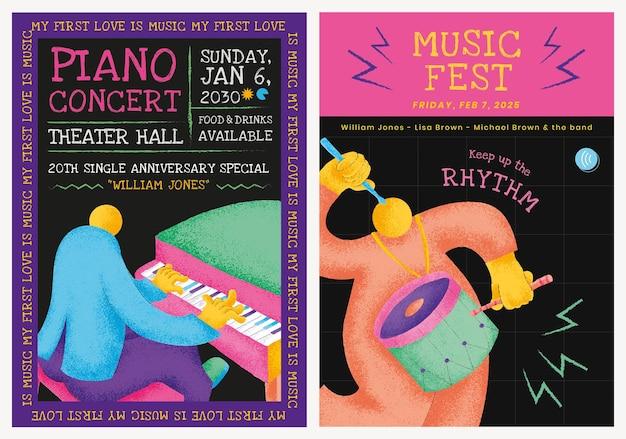 Vecteur de modèle d'affiche de concert coloré avec graphique plat de musiciens