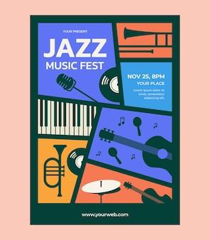 Vecteur de modèle d'affiche de festival de musique jazz