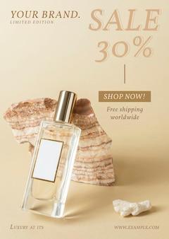 Vecteur de modèle d'affiche de parfum à vendre et à promouvoir
