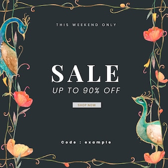 Vecteur de modèle d'annonce de magasin modifiable avec illustration de paons et de fleurs à l'aquarelle avec vente jusqu'à 90 % sur le texte