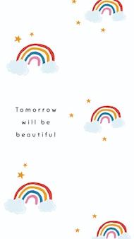 Le vecteur de modèle d'arc-en-ciel blanc pour la citation d'histoire de médias sociaux demain sera beau