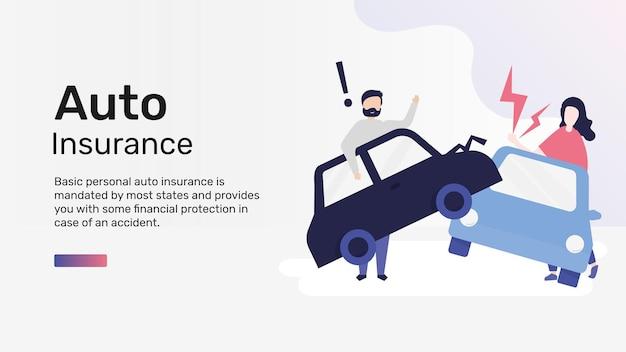 Vecteur de modèle d'assurance automobile pour la bannière de blog