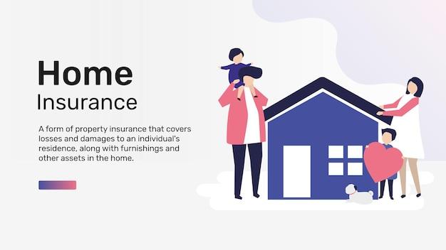 Vecteur de modèle d'assurance habitation pour bannière de blog