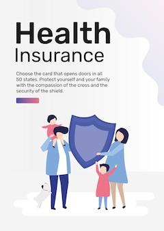 Vecteur de modèle d'assurance maladie pour affiche