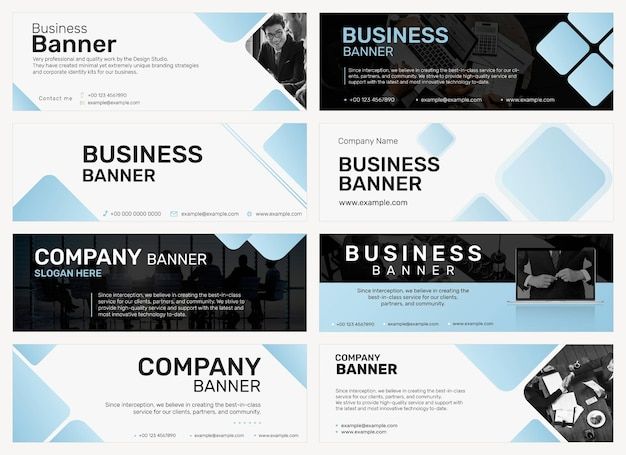 Vecteur de modèle de bannière d'entreprise professionnelle dans un ensemble de conception minimale