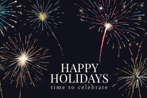 Vecteur de modèle de bannière de joyeuses fêtes avec texte modifiable et feux d'artifice festifs