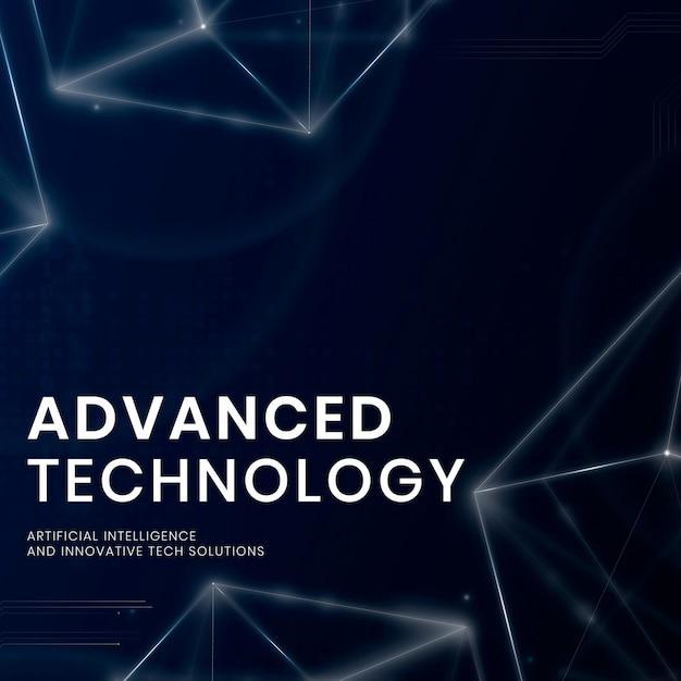 Vecteur de modèle de bannière de technologie avancée avec fond numérique