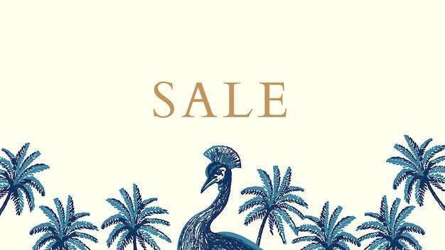 Vecteur de modèle de bannière de vente tropicale dans le ton bleu