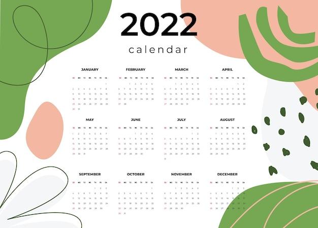 Vecteur de modèle de calendrier 2022 définir la conception de calendrier mural de calendrier de bureau 2022