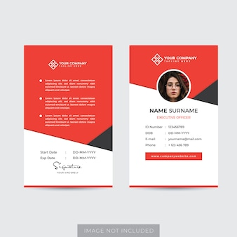 Vecteur de modèle de carte d'identité d'employé premium