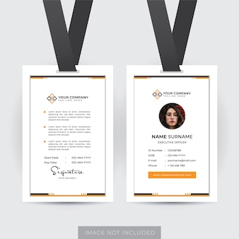 Vecteur de modèle de carte d'identité d'employé professionnel