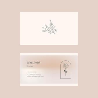 Vecteur de modèle de carte de visite en beige pour marque de beauté à thème féminin