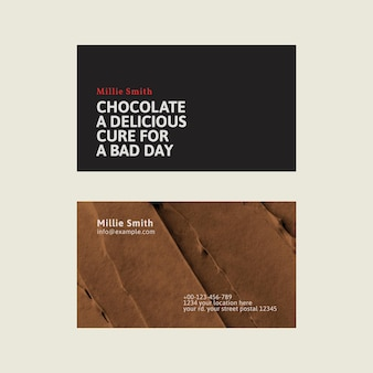 Vecteur de modèle de carte de visite de boulangerie en noir et marron avec texture de glaçage