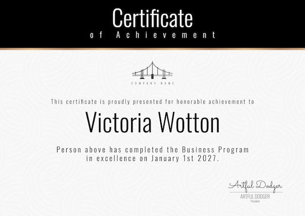 Vecteur de modèle de certificat de récompense professionnelle dans un design élégant