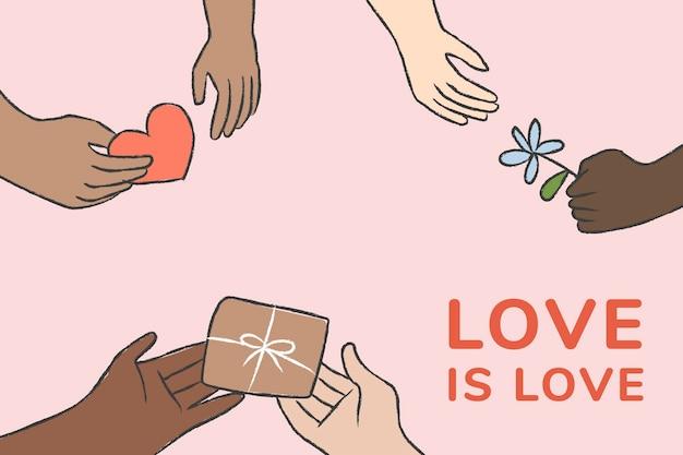 Le vecteur de modèle de charité avec l'amour est un texte d'amour