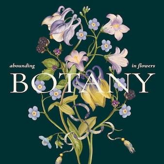 Vecteur de modèle coloré floral vintage pour publication sur les réseaux sociaux remixé à partir d'œuvres d'art de pierre-joseph redouté