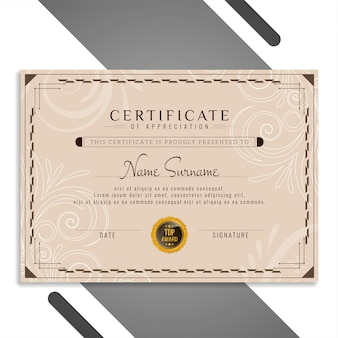 Vecteur de modèle de conception de certificat classique élégant