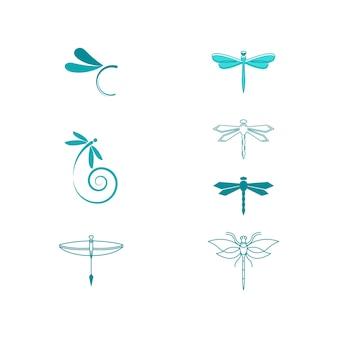 Vecteur de modèle de conception icône illustration libellule