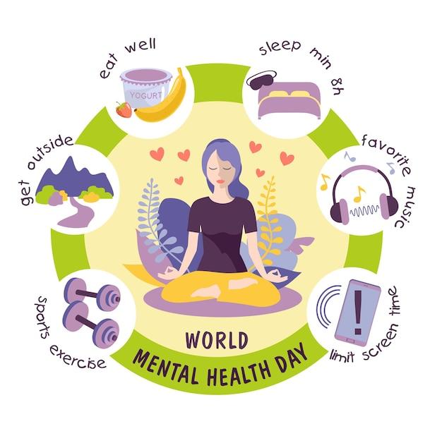 Vecteur de modèle de conception de la journée mondiale de la santé mentale adapté à la journée des affiches et des bannières de cartes de voeux