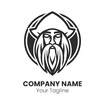 Vecteur de modèle de conception de logo homme barbe