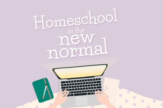 Vecteur de modèle d'école à la maison dans la nouvelle norme grâce au système d'apprentissage en ligne