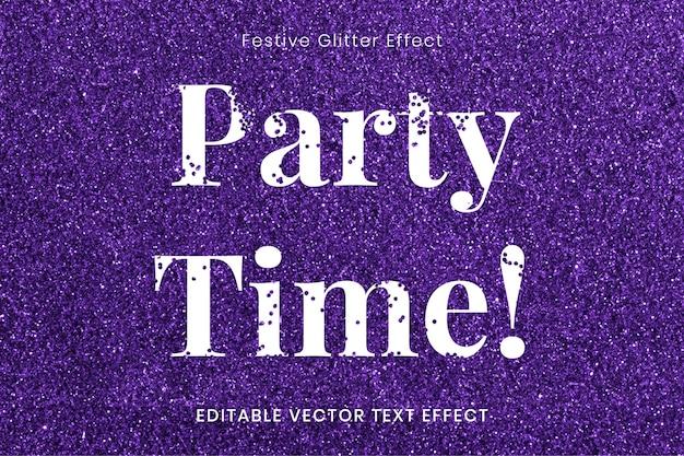 Vecteur de modèle d'effet de texte modifiable de temps de fête de paillettes