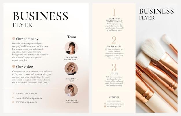Vecteur de modèle de flyer d'entreprise modifiable dans la conception de style féminin