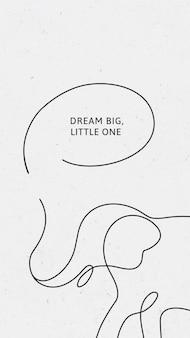 Vecteur de modèle de fond d'écran iphone éléphant minimal, rêve grand petit