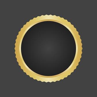 Vecteur de modèle d'insigne métallique de luxe doré et noir.