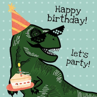 Vecteur de modèle d'invitation d'anniversaire pour enfant avec dinosaure tenant une illustration de gâteau