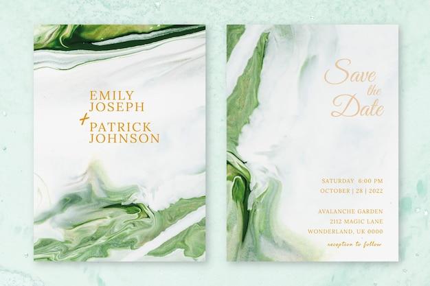 Vecteur de modèle d'invitation de mariage en marbre dans un style esthétique