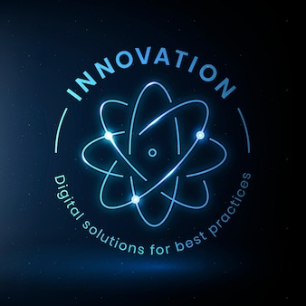 Vecteur de modèle de logo d'éducation d'innovation avec le graphique de science d'atome