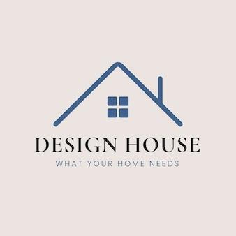 Vecteur de modèle de logo de maison, entreprise de design d'intérieur