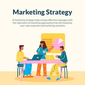 Vecteur de modèle de marketing pour les entreprises de démarrage au design plat