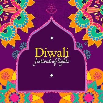 Vecteur de modèle de médias sociaux du festival de diwali