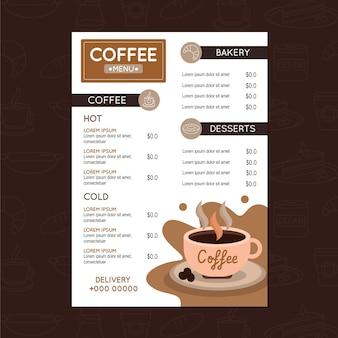 Vecteur de modèle de menu de café