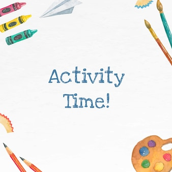 Vecteur de modèle modifiable d'activités scolaires à l'aquarelle pour la publication des médias sociaux de l'école