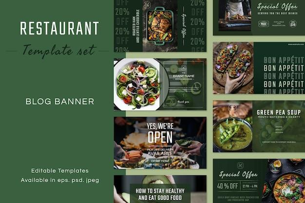 Vecteur de modèle modifiable d'entreprise de restaurant défini pour la bannière de blog