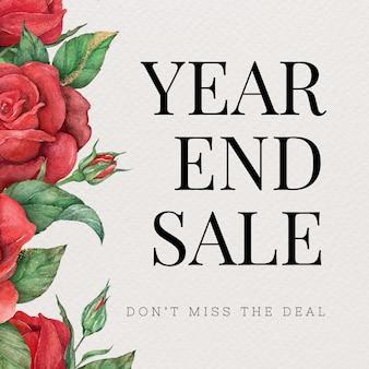 Vecteur de modèle modifiable rose rouge avec texte de vente de fin d'année
